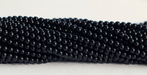 1 Strand Black Onyx  4.5 mm Gemstone Round Beads 15.5 inches T038