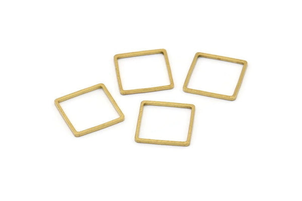 Square Wire Finding, 50 Raw Brass Square Connectors (14mm) Bs-1118