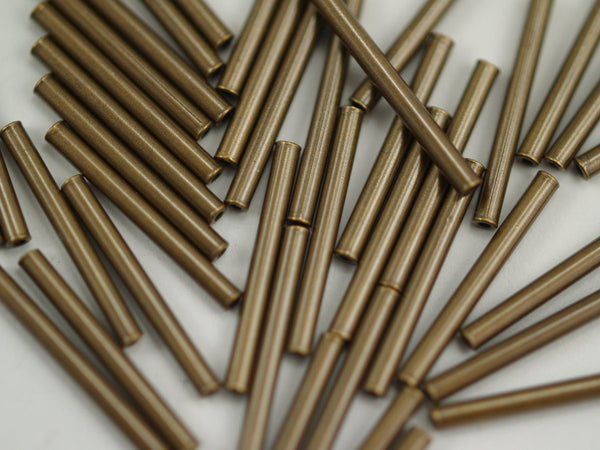 Copper Tube Beads - 200 Antique Bronze Tone Copper Tube Spacer Beads (20x2mm) K194