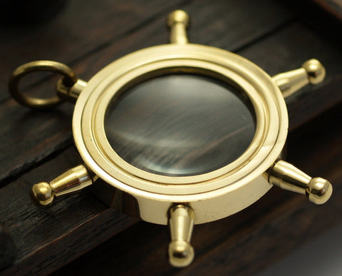 1 Solid Brass Wheel Magnify Glass  L-2