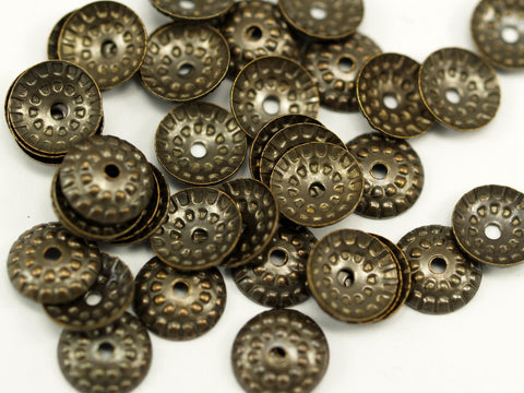 100 Pcs Antique Brass Round Middle Hole Bead Caps, Connectors, Findings, Charms (9 Mm) Pen 353 K024