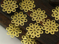 Brass Snowflake Charm, 12 Snowflake Filigree Raw Brass Connectors Charms Findings (18mm) Brs117 A0168