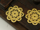 Snowflake Filigree Charm, 10 Raw Brass Snowflake Filigree Connectors Charms Findings (28mm) Brs 406 A0276