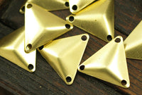 Brass Cambered Finding, 30 Raw Brass Triangle Cambered with 3 Holes  Findings  (14mm)  A0018