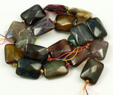 Agate Gemstone Beads, Colorful Dyed Agate 20x15 Mm Rectangle Faceted Gemstone Beads Full Strand G117