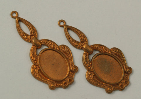1vintage 42x20 Mm Copper Plated Brass Pendant Base (14x10 Mm)