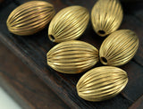 5 Vintage Raw Brass Crimped Textured 18x12 Mm Oval Hollow Beads K498