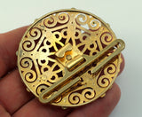 Swarovski Belt Buckle, 1 Gold Plated Vintage Brass And Swarovski Belt Buckle, Findings (56mm)