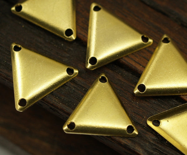 Brass Triangle Charm, 50 Raw Brass Triangle Charms with 3 Holes (12x14mm) Brs 6203-b A0119