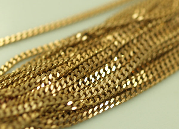 15 Meters-49.5 Feet Faceted Raw Brass Soldered Chain (2mm) W4