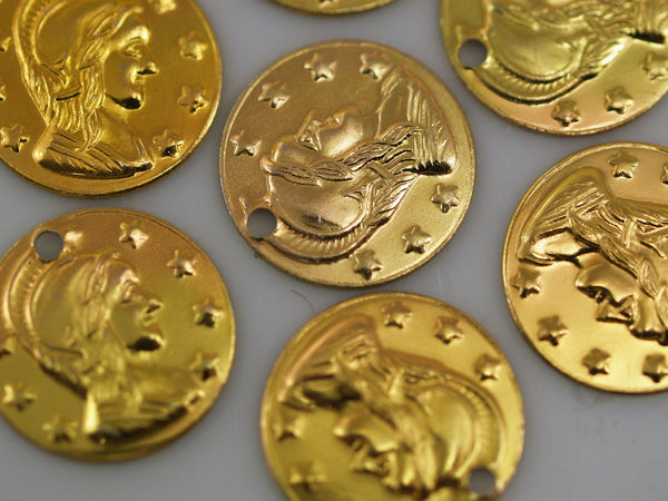20 Vintage Aliminum Coin Charms 15 Mm
