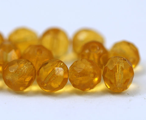 10 Vintage Glass Faceted Citrine Yellow Beads ( 7 Mm ) Cv16