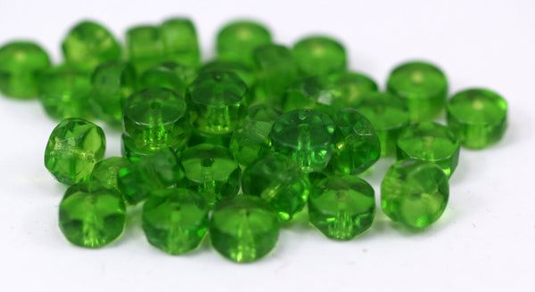 10 Vintage Glass Rondelle Faceted Pistachio Green Beads ( 8x4 Mm ) Cv28