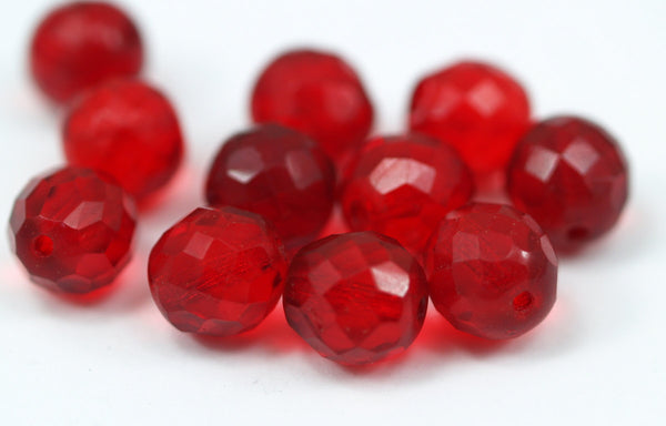 10 Vintage Glass Faceted Red Beads  ( 11.5 Mm ) Cv30
