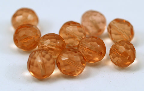 10 Vintage Glass Faceted Peach Beads ( 12 Mm ) Cv31