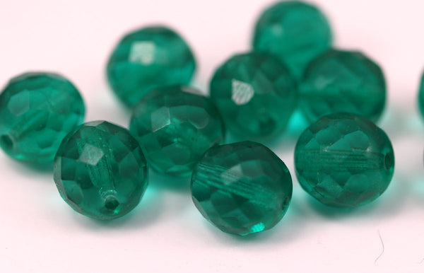 10 Vintage Glass Green Faceted Water Beads ( 12 Mm ) Cv37