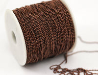 Copper Brass Chain, 5 Meters - 16.5 Feet (1.2mm) Copper Brass Faceted Ball Chain - W75 ( Z049 )