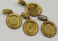 10 Vintage Raw Brass Brass Pendant Setting With 10x8 Mm Cameo Base L-11