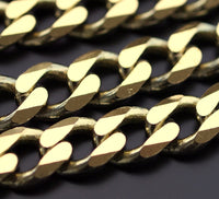 Huge Link Chain, 1M Huge Faceted Raw Brass Soldered Chain (11x9mm) w13