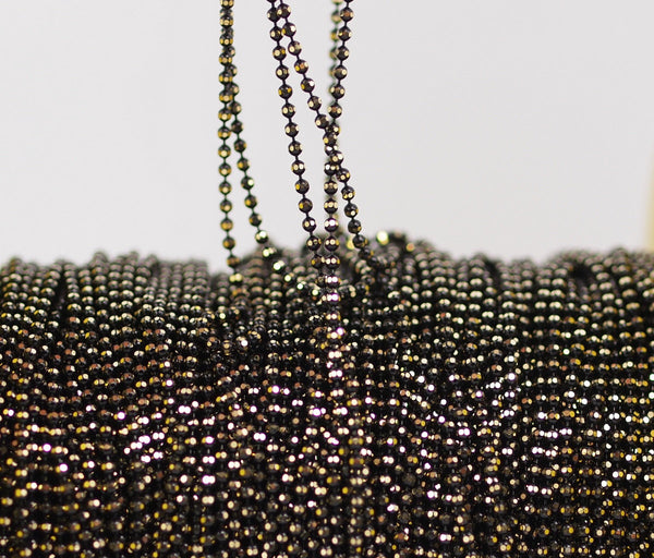 5 M 1.5 Mm Black Gold Brass Faceted Ball Chain ( Z012 )