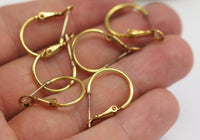 15mm Leverback Finding, 20 Raw Brass Leverback Earring Findings  (23x15mm) D436
