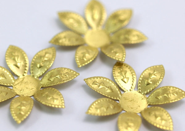 Brass Flower Setting, 10 Raw Brass Flower Flat Back Base Setting Findings 27mm  D099--C047