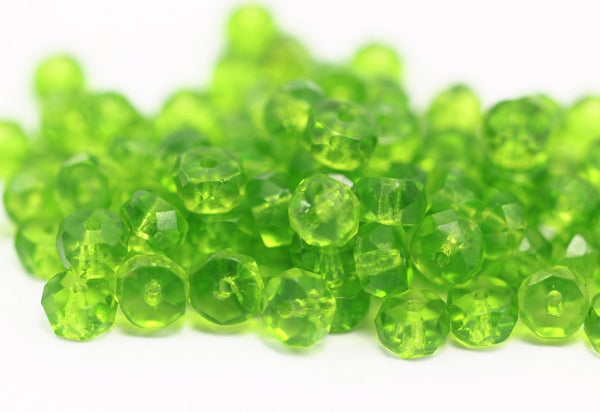 10 Pistachio Green Czech Glass Rondelle Faceted Beads Cf-09