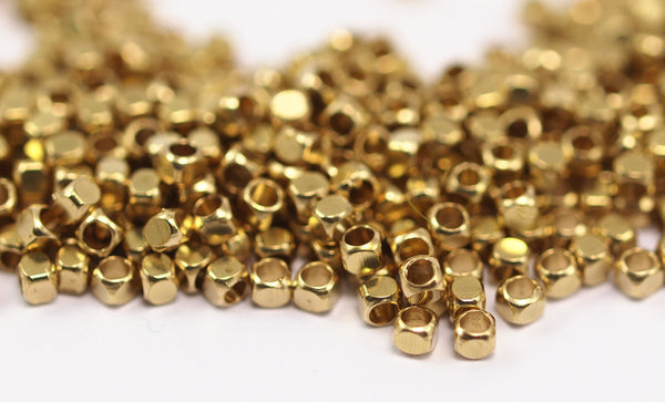 250 Raw Brass Tiny Square Cube Space Beads (2mm) Brs 601 (b0071)