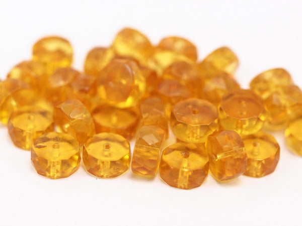 10 Vintage Yellow Czech Glass Rondelle Faceted Beads Cf-89