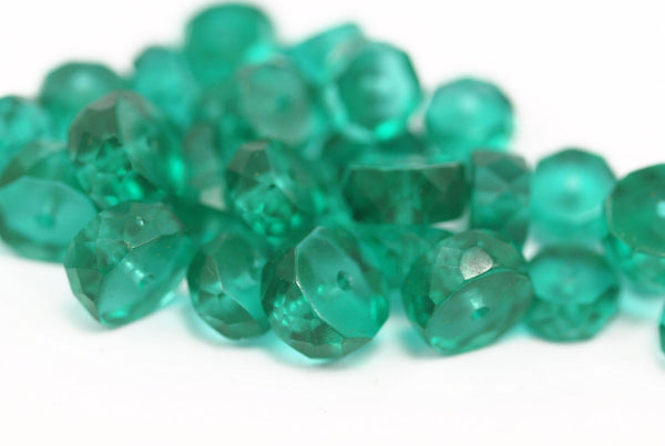 10 Vintage Sea Green Czech Glass Rondelle Faceted Beads Cf-70