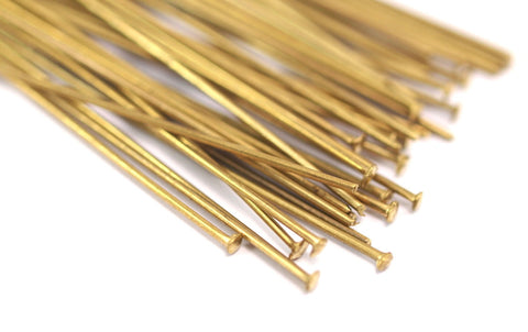 100 Raw Brass Head Pin, Findings (50 mm x 0.85mm)