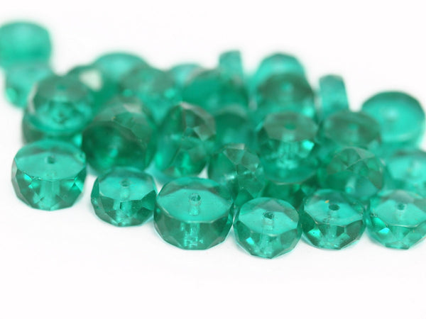 10 Vintage Sea Green Czech Glass Rondelle Faceted Beads Cf-99