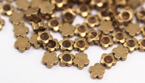 Brass Flower Charm, 100 Raw Brass Flower Setting  (4mm)