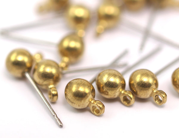 50 Earring Posts with Raw Brass Ball Pad and 5 mm Hole Hook   A0394
