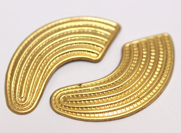 Vintage Brass Textured Finding 51x19 Mm