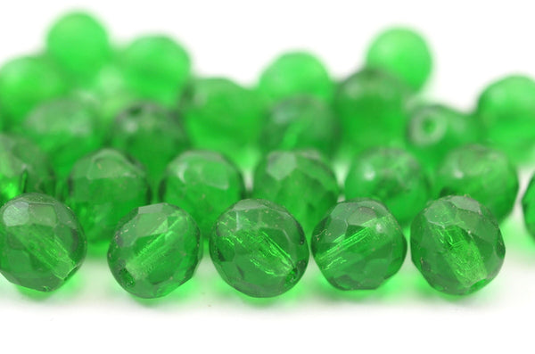 10 Vintage Green Czech Glass Round Faceted Beads Cf-5765