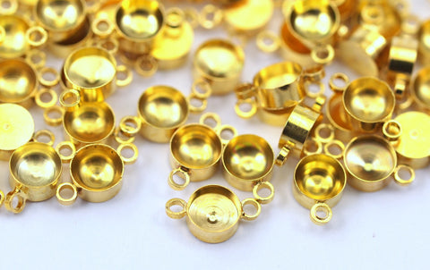 50 Gold Tone Brass Charms Rhinestone Base Setting Connectors, Findings (10x6 Mm)