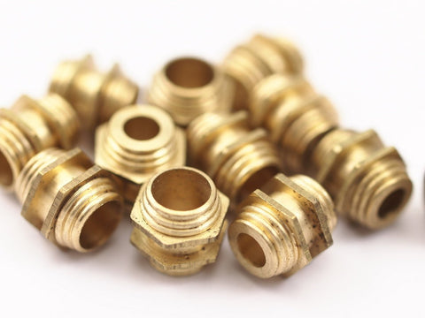 12 Raw Brass Industrial Hexagon Tubes, Spacer Beads, Findings (10x10 Mm)  D077