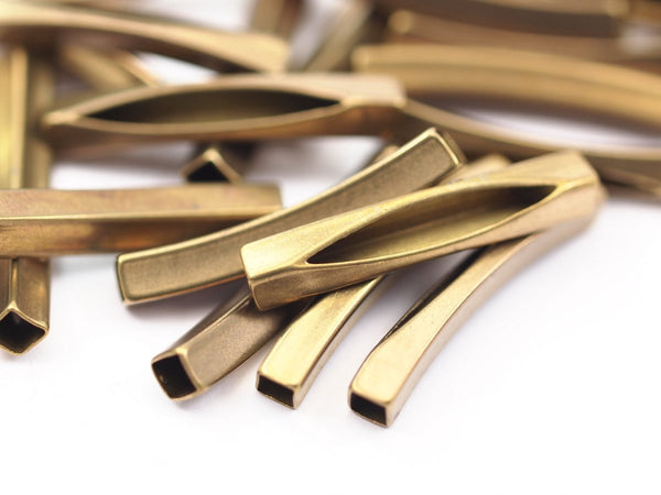 Square Curved Tube, 40 Raw Brass Square Curved Tube Findings (30x4mm)  A0709