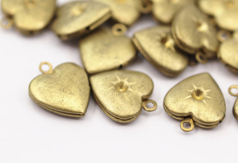 10 Raw Brass Heart Locket with 1.3 mm Rhinestone Setting, Findings (15x13 mm)