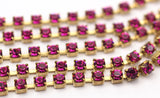 3 Feet Vintage 3 Mm Fuchsia Crystal Rhinestone Chain With Brass Frame - Made In Austria Ac524