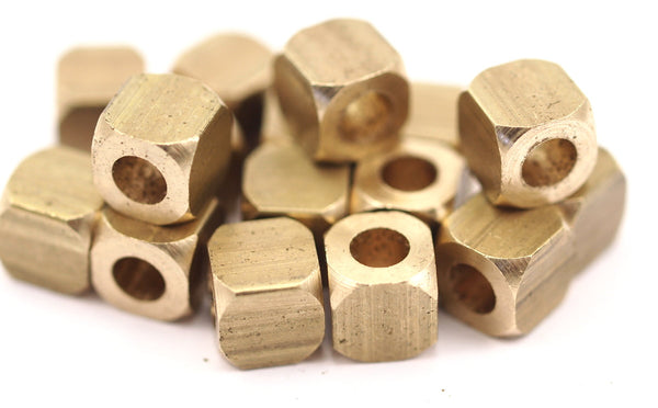 16 Raw Brass Square Cube Beads (8 Mm) T001  D157