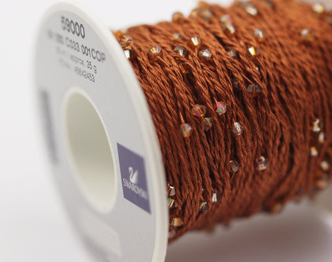 1 SPOOL - 50 Meters - Swarovski Crystal Cotton Yarn, Crystal Copper