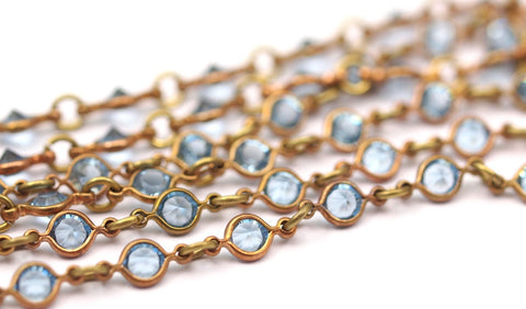 1 M Vintage Aquamarine Swarovski Chain Raw Brass Links S553