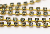 2 Feet Vintage 2.9 Mm Light Sapphire Crystal Rhinestone Chain With Brass Frame - Made In Austria Au15 Z157