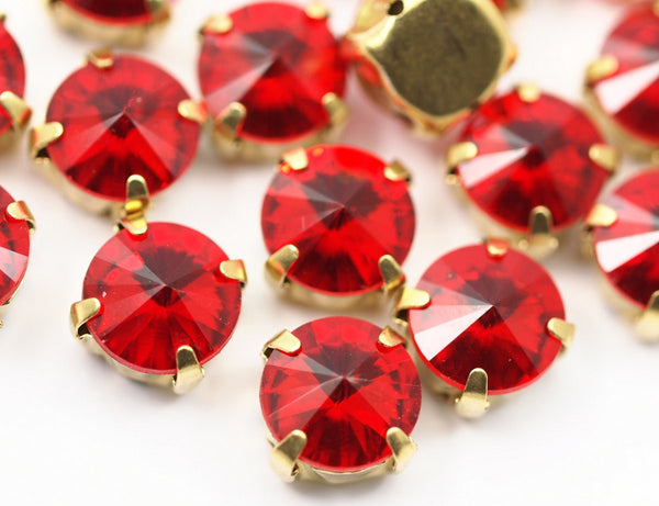 20 Ss47 Light Siam Rivoli Sew On Rhinestone Raw Brass Prong Setting 4 Hole Slider 10 Mm Ss-47