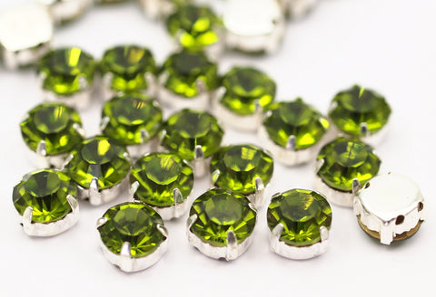 20 Ss38 Peridot Chaton Sew On Rhinestone Silver Plated Brass Prong Setting 4 Hole Slider 8.2mm  K358
