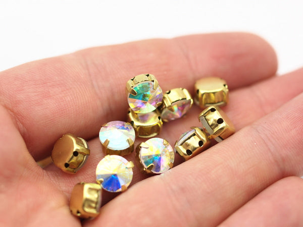 20 Ss47 Ab Aurore Boreale Rivoli Sew On Rhinestone Raw Brass Prong Setting 4 Hole Slider 10.5mm