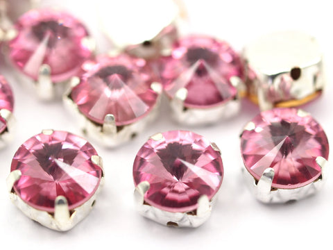 20 Ss47 Rose Rivoli Sew On Rhinestone Silver Plated Brass Prong Setting 4 Hole Slider 10.5mm Y261