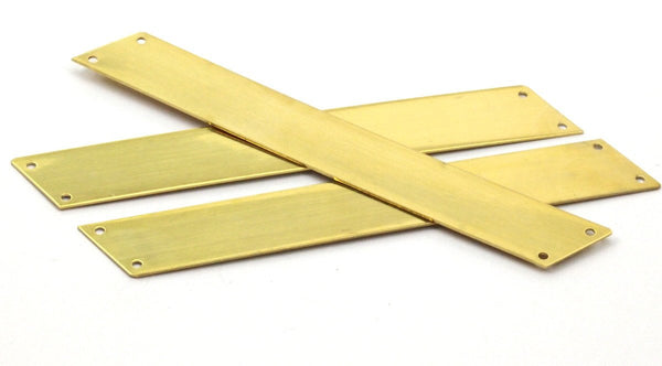 Brass Rectangle Blank, 3 Raw Brass Parallelogram Blanks, Extra Long with 4 Holes (15x110mm)  Brass 0598